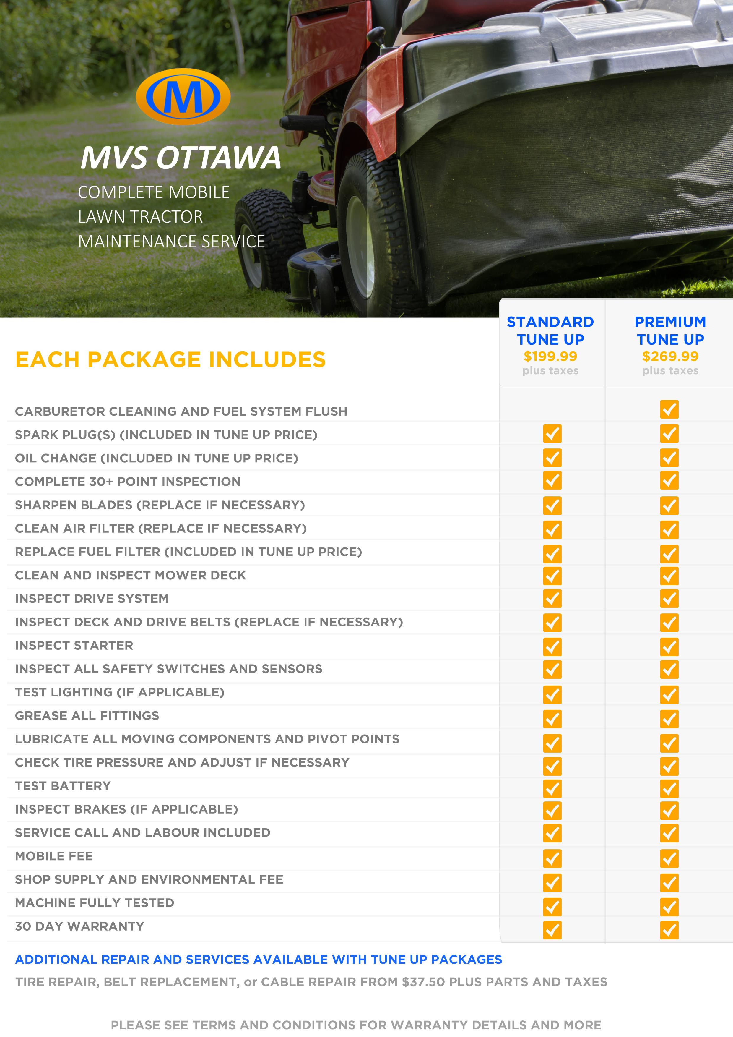 Complete Mobile Lawn Tractor Maintenance Service Mvs Ottawa