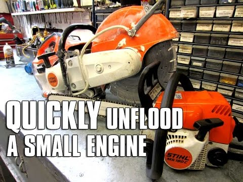 How do you start a flooded small engine?